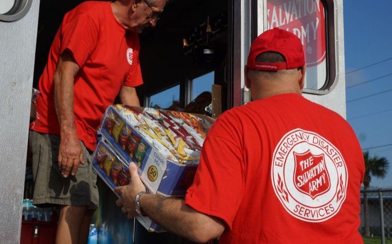 The Salvation Army establishing feeding in Highlands County, Florida after Irma