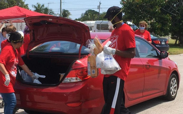 Community Comes Together for Salvation Army Drive-Thru Food Pantry in Palm Beach, Florida